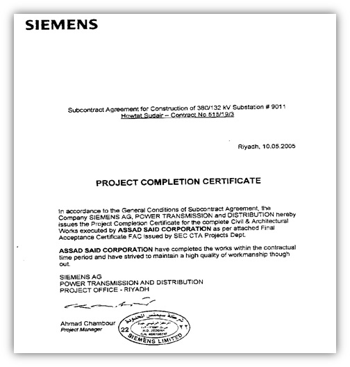 project completion certificate from company - Kubre.euforic.co